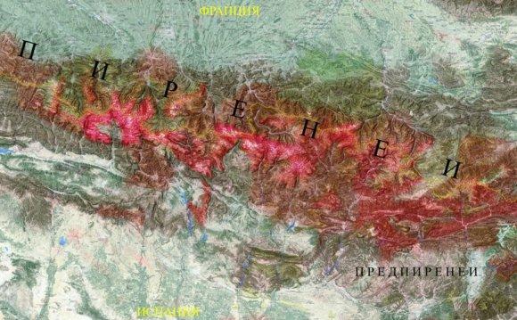 Горы Пиренеи на карте